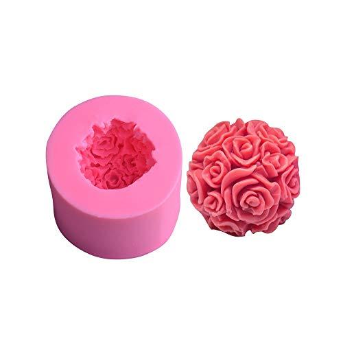 HONGTAI Silikon-Kerze-Form-3D Rose Kugel Aromatherapy Kerze-Seifen-Form Fertigkeit-Harz Lehm Werkzeug Verziert Silikon-Kerze-Form (Color : MG)