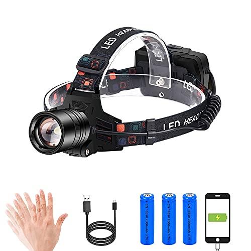 Hoplet Linterna Frontal LED Recargable Linterna Cabeza USB 9000mAh con 3 Modos y Luz Roja de Advertencia, 3000 Lúmenes, Sensor Inteligente,90° Ajustable y Zoomable Luz Frontal, Impermeable IPX5 para