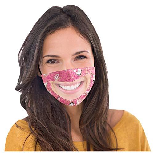 IsMoon Mundschutz mit Klarem Fenster für Erwachsene,Bunter Druck Bandanas mit Sichtfenster, Waschbar Mund und Nasenschutz Wiederverwendbare für Laufen, Radfahren