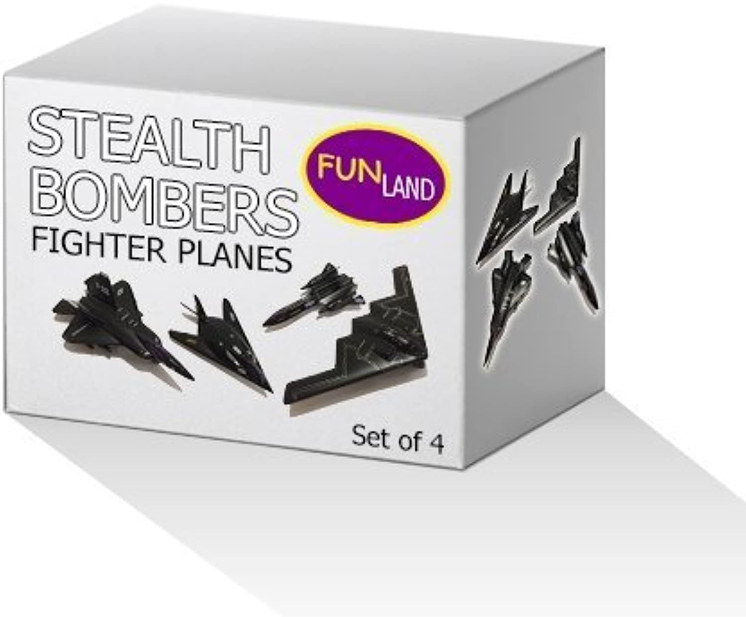 5  Die Cast Metal Pull Back Stealth Bombers and Fighter Planes Set of 4 by Fun Land