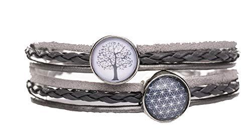 KT-Schmuckdesign Wickelarmband grau mit Baum grau rosa und Lebensblume