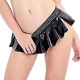 Yeahdor Damen Dessous Rock Leder Minirock Hotpants Kurz Latex Lingerie Faltenrock mit Strass Erotik Nachtwäsche Clubwear Schwarz Schwarz X-Large