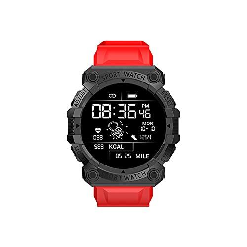 1,44 Zoll Runder Bildschirm Smartwatch, Touch-Farbdisplay Fitness Armbanduhr Bildschirm Bluetooth IP67 Wasserdicht, Blutdruckmessgerät Schlafmonitor SportAnrufuhr (Rot)