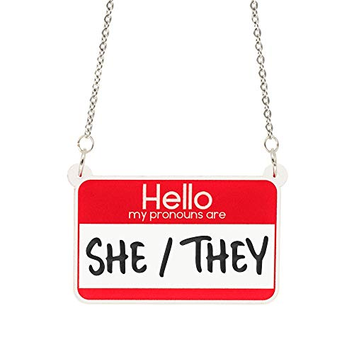Hello My Pronouns Are She/They acrylic necklace