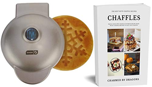 "Dash MINI 4"" SNOWFLAKE Waffle Iron With The Best Keto Chaffle Recipe Book and Journal by Charmed By Dragons (4 Inch MINI SILVER SNOWFLAKE)"