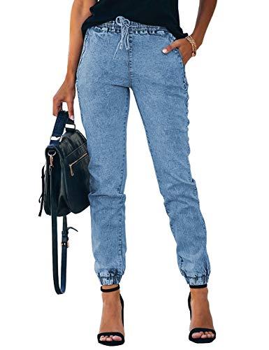 Vetinee Womens Light Blue High Rise Jogger Denim Jeans Elastic Waist Drawstring Pockets Stretch Casual Pants Size Large