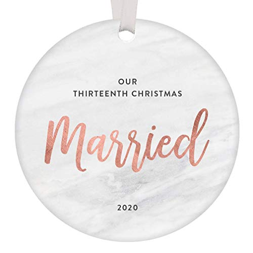 Lplpol Our 13th Wedding Anniversary Ornament 2020 Christmas Keepsake Husband Wife Gift Idea Thirteenth Holiday Mr Mrs Happily Married Couple Present, 3 Inch Round Ceramic Ornament Keepsake, RE204