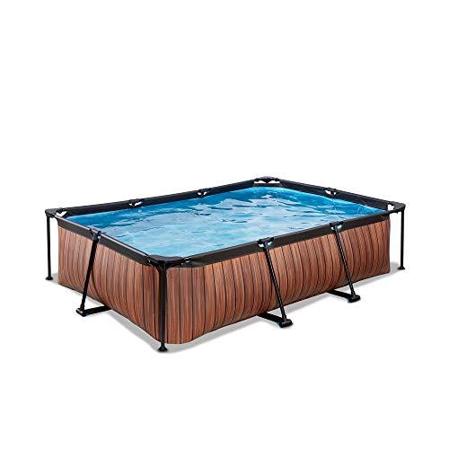 EXIT Wood Pool 300x200x65cm mit Filterpumpe - braun