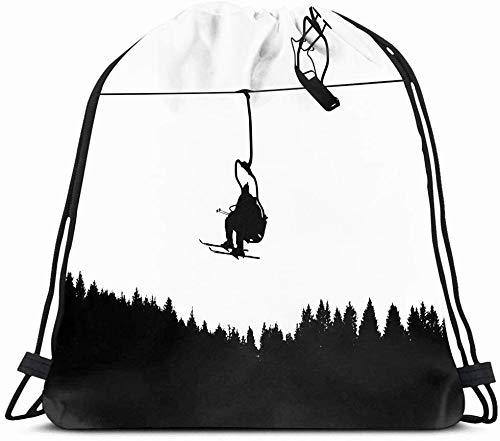 DHNKW Drawstring Backpack String Bag 14X16 Snow Ski Lift Fun Sports Recreation Fast Speed Snowboard Mountain Boy Silhouette Action Slope Downhill Board Sport Gym Sackpack Hiking Yoga Travel Beach