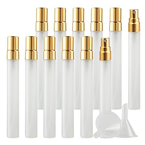 BasicPacking 24 Pieza Mate Transparente Portatil de Perfume Bote de Spray Viaje Pulverizador con Sprayer de Oro, Recargable 10 ml Vidrio Botella de Spray Atomizador de Perfume Viaje + 3 x Embudo