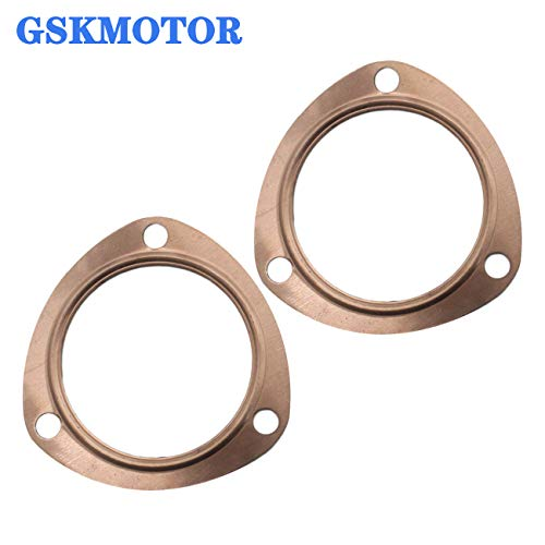 """GSKMOTOR 3"""" Copper Header Exhaust Collector Gaskets Reusable for all SBC BBC 302 350 454 3"""" Exhaust Gaskets(3 Bolt Pattern)"""