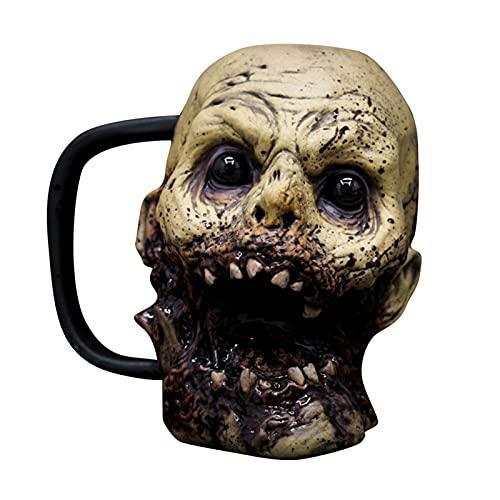 GDYJP Esqueleto Artesanía Agua Halloween Resina De Halloween Horror Zombie Head Copa Agua Haunted House Bronco Botella Decoración de Halloween Prop (Color : B, Tamaño : 12 * 8 * 14cm)