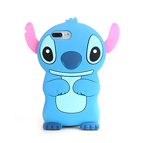 Blue Stitch Case for iPhone 7+ 7Plus 8 Plus 8+ Large Size 5.5 Screen Soft Silicone Rubber 3D Disney Cartoon Lilo Cool Fun Bold Cute Lovely Fashion Hot Girls Teens Kids Boys