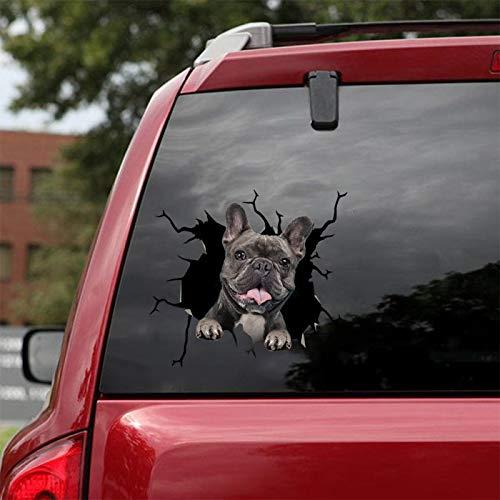 French Bulldog Crack Sticker PVC Plastic Sticker Car Window Decal Laptop