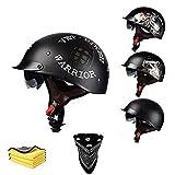Medio casco de motocicleta, medio casco de motocicleta, cara abierta, casco retro personalizado, casco de moto Cruiser Scooter para hombres y mujeres, certificación ECE/DOT (estilo A, M)