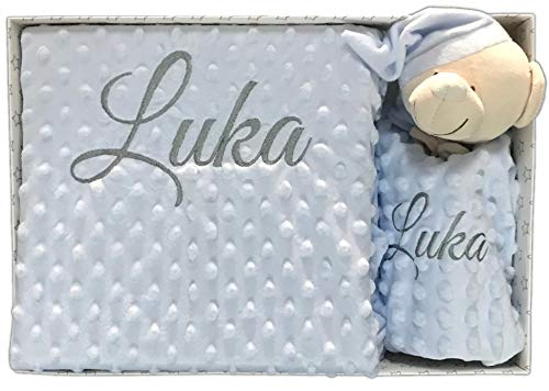 Set de Manta + Dou dou Personalizado con nombre bordado Oso Azul Baby Shower - mibebestore