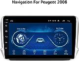 CJK 2.5D Android 8.1 Pantalla GPS para Coche Multimedia para Peugeot 2008 Coches Reproductor de DVD 2015 2016 2017 2018 con Bluetooth Soportes de Radio múltiples formatos de Audio,Cable 308