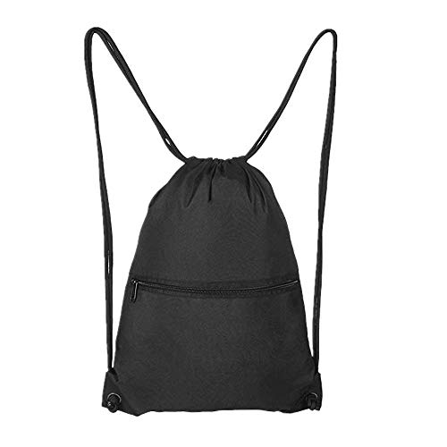 Aiditex Black Drawstring Gym Bag Sport Bag Sackpack for Men Women Kids