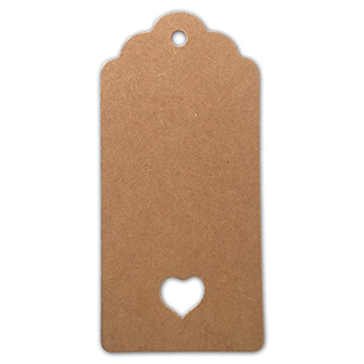 LWR Crafts 100 Hang Tags Scalloped Top Rectangle Heart with Jute Twines 100ft (3 3/4