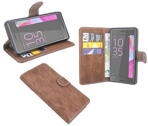 ENERGMiX Elegante Buch-Tasche kompatibel mit Sony Xperia X Performance in Braun Wallet Book-Style Hülle Cover Schale Etui
