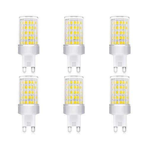 Bombilla LED G9 de 10W, Blanco frío 6000k, High Light 800LM, Lámparas Halógenas Equivalentes a 80W/ AC 220-240V/ SMD 2835/No regulable, Pack de 6 Unidades