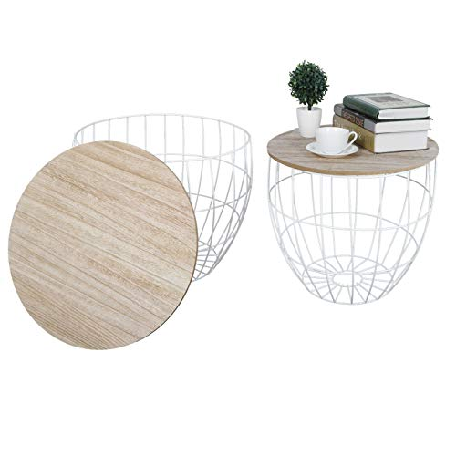 Greensen 2 Metal Wire Coffee Tables, Occasional Side Table with Round Removable Top, Nesting Coffee Table Side Tables with Storage Basket Set for Home Living Room Bedroom
