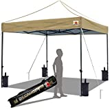 ABCCANOPY Popup Canopy 10x10 Outdoor Canopy Tent Commercial Canopy Instant Shelter Bonus Wheeled Carry Bag,Sandbags,Stakes and Ropes,Khaki