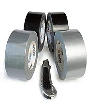 Hinrichs Plakband 50 m x 50 mm - 4 Pantsertape Rollen 2 x Zwart 2 x Zilver - Voor Binnen en Buiten - Gratis Snijmes