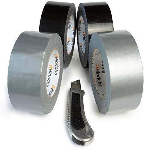 Hinrichs 4 Rollos de Cinta Americana 50m x 50 mm - Cinta Adhesiva Negra y Plata - Duct Tape para Interiores y Exteriores