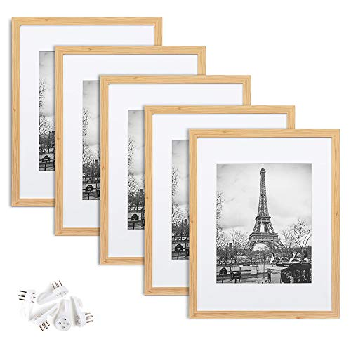 upsimples 11x14 Picture Frame Set of 5,Display Pictures 8x10 with Mat or 11x14 Without Mat,Wall Gallery Photo Frames,Natural
