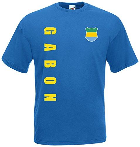 Gabun Gabon T-Shirt Trikot Wunschname Wunschnummer (Royalblau, XXL)