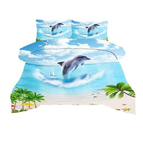 Erosebridal 3D Dolphin Printed Pattern Duvet Cover Set Queen Size Sea Animal Printed Bedding Set Cartoon Summer Bedding Duvet Cover for Kids Teen Light Blue Comforter Cover