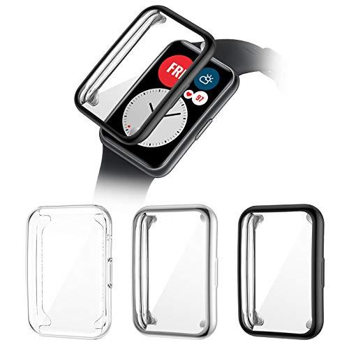 HAPAW Custodia Compatibile con Huawei Watch Fit Custodia Protettiva [3-pezzi], Custodia Protettiva a Protezione Totale in TPU Copertura Custodia Protettiva per Schermo Antiurto per Huawei Watch Fit