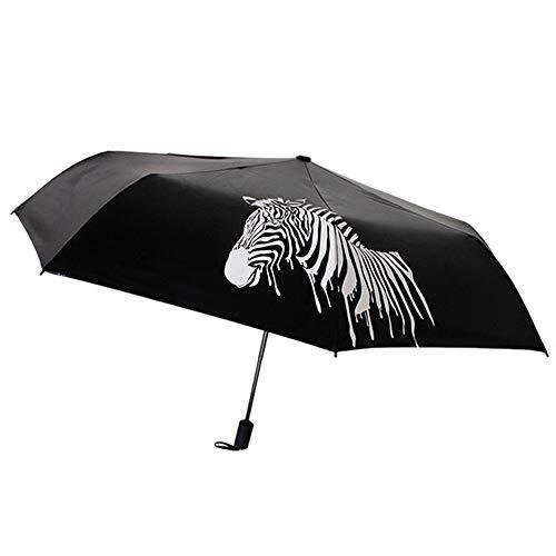 ToDIDAF, faltbar, mit Farbwechsel, tragbar, Legierung, Vinyl, Zebra-Sonnenschirm, UV-Schutz, für Zuhause, Sommerreisen