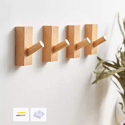 HomeDo 木製フック 強力粘着フック おしゃれフック 壁傷つけない ウォールフック 壁掛けフック 洋服掛け ウォールハンガー 帽子掛け 帽子収納 装飾壁掛けフック タオルハンガー 4個セット(長方形-ブナ)