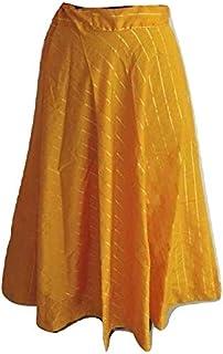 SNEH Women's Silk Skirt (Yellow,Free Size)