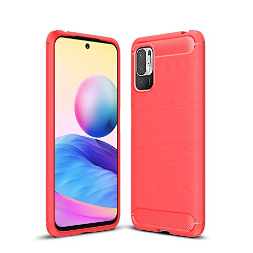 TingYR Funda para Xiaomi Redmi Note 10 5G, Resistente a los Arañazos, Fina de Silicona, Funda Interior de TPU Suave, Fundas para Xiaomi Redmi Note 10 5G Smartphone.(Rojo)