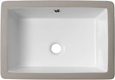Rectangle Bathroom Sink Undermount - Lordear 18'' Undermount Vessel Sink Rectangle Pure White Porcelain Ceramic Lavatory Vani