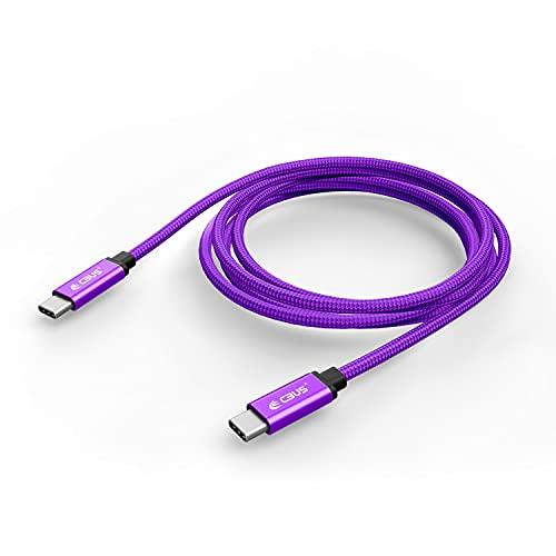 CBUS – Cable Trenzado USB 3.2 Gen 1 con Conectores USB-C a USB-C para Carga Rápida y Transferencia de Datos. Compatible con Cualquier móvil con Puerto USB-C. (3m, Morado)