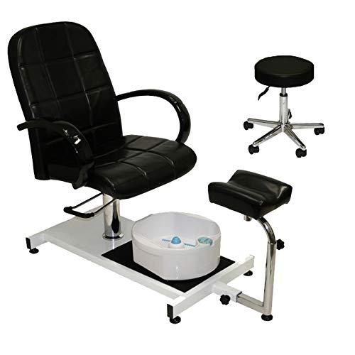 LCL Beauty Hydraulic Lift Adjustable Pedicure Unit with Easy-Clean Bubble Massage Footbath
