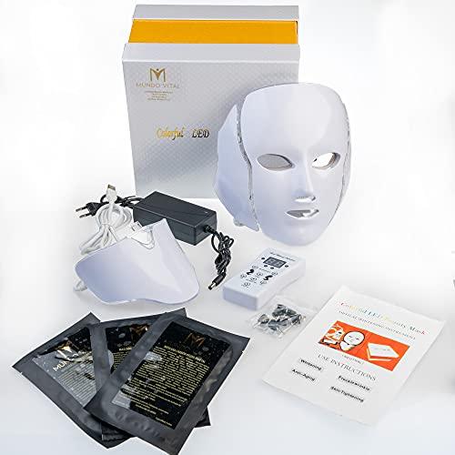 Máscara Facial LED 7 Colores Luz Belleza Rejuvenecimiento de la Piel Cara y Cuello Acné Cicatrices