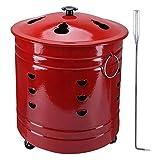 Lcb Incinerador 1pc Acero Inoxidable Burn Incinerador Incinerador Barril Rojo...