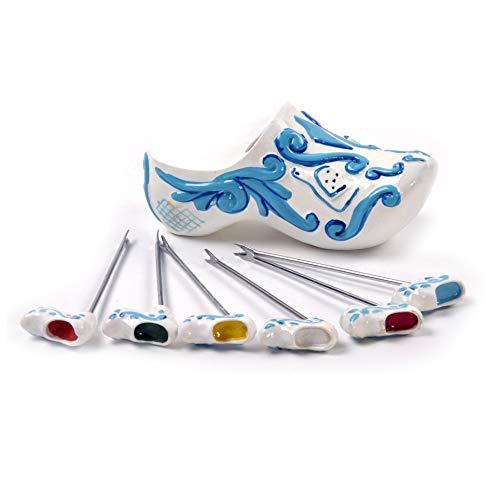 BOSKA 853708 Set de Piques, Acier Inoxydable, Blanc/Bleu/Argent, 14 x 7 x 8 cm