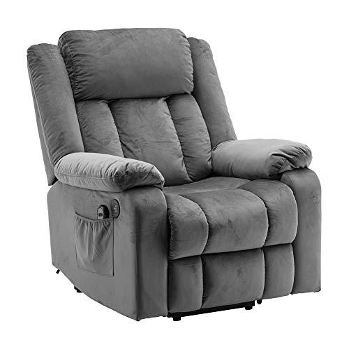 N/P AIBOOSTPRO Elektrisch Aufstehhilfe Fernsehsessel Relaxsessel Massage Heizung elektrisch verstellbar USB Anschluss (Grau)