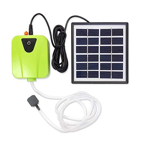 ソーラー充電式エアポンプ 【グリーン】 太陽光充電で電源不要 USB充電対応 エア吐出量毎分2L 静音設計 持ち運び使用可 ポータブルエアポンプ 各種水槽の酸素供給に FMTBSVAP03GR