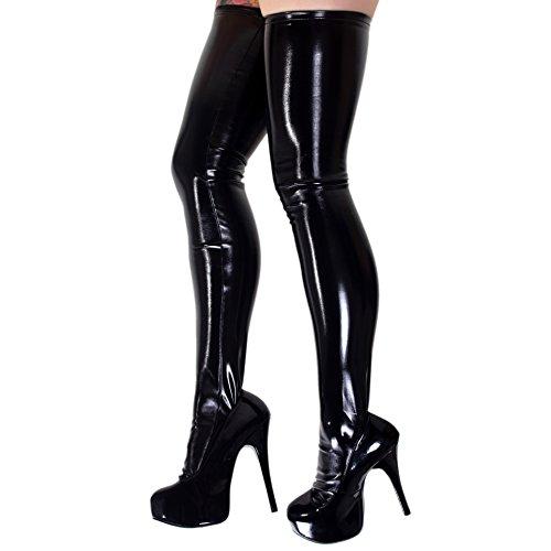 Rubberfashion Lange Lack Strümpfe, Lackstrümpfe bis zum Oberschenkel mit beschichteter Oberfläche für Frauen und Herren Paar schwarz L