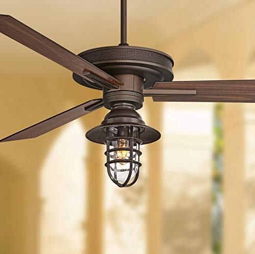 "60"" Taladega Rustic Industrial Outdoor Ceiling Fan with Light Kit LED Dimmable Remote Control Oil Rubbed Bronze Dark Walnut Wood Blades Hooded Caged Damp Rated for Patio Porch - Casa Vieja"