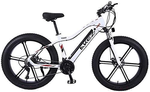 ZJZ Bicicleta de montaña eléctrica de 26'Motor de 350 W Bicicleta de Nieve Frenos de Disco Doble de 27 velocidades Bicicleta de Crucero de Playa, Marco de aleación de Aluminio Ligero