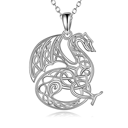 Celtic Dragon Necklace for Women 925 Sterling Silver Dragon Irish Necklace Jewelry Gifts for Women