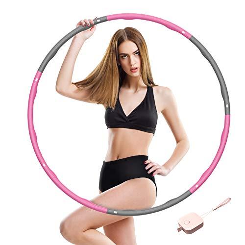 SOCLL Hula Reifen Erwachsene für Fitness, Dicke Schaumbaumwolle 6-8 Abnehmbare Abschnitte Geeignet für Erwachsene Kinder, Gewichtet Hula Reifen 1,2 KG mit Mini-Maßband,Pink